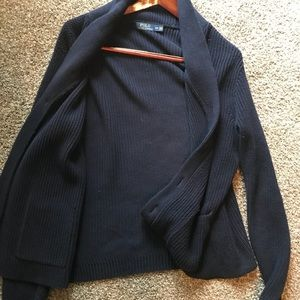 Navy Brown-Buttoned Polo Sweater